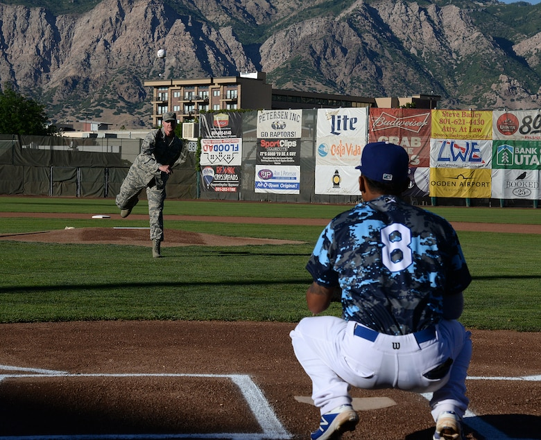 Col. Jon A. Eberlan, 75th Air Base Wing commander, throws the ceremonial first pitch before the July 13, 2018, Military Appreciation Night game between the Ogden Raptors and Missoula Osprey at Lindquist Field in Ogden, Utah. Each year, the Ogden Raptors team up with the Top of Utah Military Affairs Committee to offer tickets to Hill Air Force Base personnel and their families. (U.S. Air Force photo by Alex R. Lloyd)