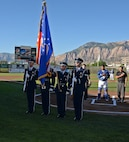The Hill Air Force Base Honor Guard presents the colors before the July 13, 2018, Military Appreciation Night game between the Ogden Raptors and Missoula Osprey at Lindquist Field in Ogden, Utah. Each year, the Ogden Raptors team up with the Top of Utah Military Affairs Committee to offer tickets to Hill Air Force Base personnel and their families. (U.S. Air Force photo by Alex R. Lloyd)