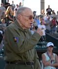 World War II veteran Hal Golde, 95, sings the national anthem before the July 13, 2018, Military Appreciation Night game between the Ogden Raptors and Missoula Osprey at Lindquist Field in Ogden, Utah. Each year, the Ogden Raptors team up with the Top of Utah Military Affairs Committee to offer tickets to Hill Air Force Base personnel and their families. (U.S. Air Force photo by Alex R. Lloyd)