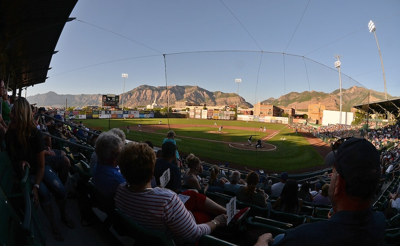 Fans watch the Ogden Raptors play the Missoula Osprey July 13, 2018, during Military Appreciation Night game at Lindquist Field in Ogden, Utah. Each year, the Ogden Raptors team up with the Top of Utah Military Affairs Committee to offer tickets to Hill Air Force Base personnel and their families. (U.S. Air Force photo by Alex R. Lloyd)
