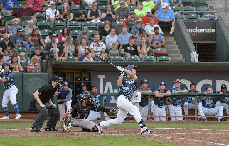 The Ogden Raptors debuted the team's blue, camouflaged military appreciation uniforms against the Missoula Osprey July 13, 2018, during the Military Appreciation Night game at Lindquist Field in Ogden, Utah. Each year, the Ogden Raptors team up with the Top of Utah Military Affairs Committee to offer tickets to Hill Air Force Base personnel and their families. (U.S. Air Force photo by Alex R. Lloyd)