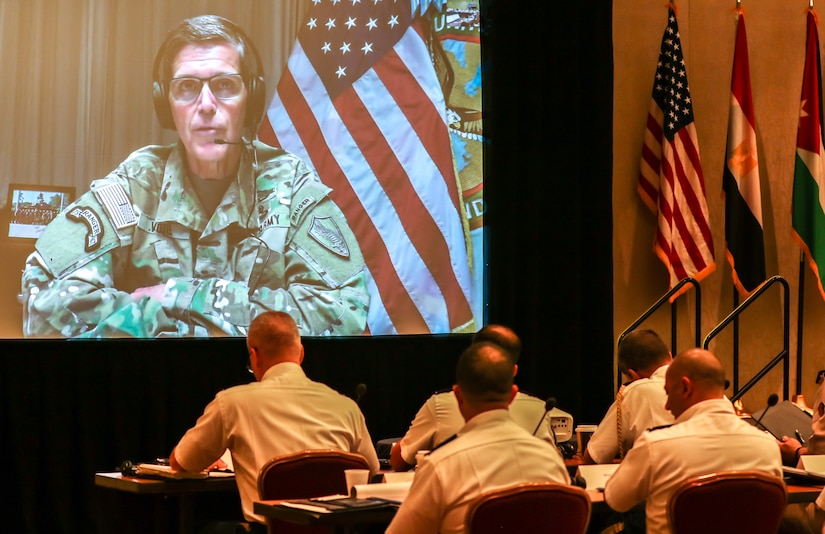 Gen. Joseph L. Votel, commanding general, U.S. Central Command, spoke to participants about the regional priorities addressed in the U.S. National Security Strategy, to include the impacts of Iranian malign influence, at the 2018 Senior Strategy Session – Arabian Peninsula / Levant in Arlington, Va, July 9, 2018. The conference promoted the successes of ongoing coalition action against emerging threats and improved shared understanding of regional land force counterparts to invest in the right capabilities to achieve better interoperability and greater effectiveness in pursuing mutual national interests. Over the four-day conference, speakers and participants will engage in discussions centering on the complexities and lessons learned from Joint, Interagency, Intergovernmental and Multinational (JIIM) efforts during ongoing theater campaigns that have global implications. (U.S. Army photo by Sgt. Von Marie Donato)