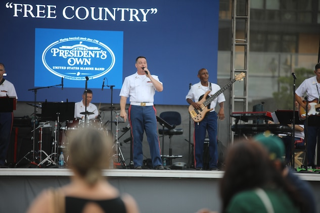 On July 15, 2018, the Marine Band's contemporary music ensmble, Free Country performed at PLAY BALL Park in Washington, D.C., as a part of Major League Baseball's All-Star Game events. (U.S. Marine Corps photo by Master Sgt. Amanda Simmons/released)