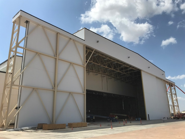 The Fuel Cell Maintenance Hangar undergoes construction, July 2, 2018, Altus Air Force Base, Okla.