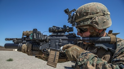 Lance Cpl. Andrew Parish, an infantry rifleman with 1st Light Armored Reconnaissance Battalion, 1st Marine Division (MARDIV), competes during the Rifle Squad Competition on Marine Corps Base Camp Pendleton, Calif., June 27, 2018