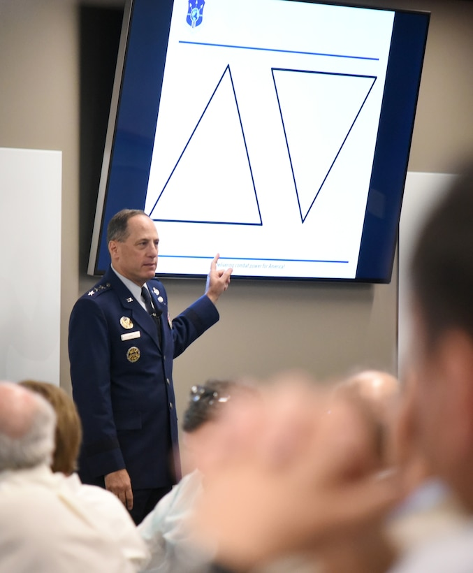 "Lt. Gen. Lee K. Levy II discusses leadership styles at an event June 28. He was the inaugural speaker of a distinguished speaker series hosted at the Gene Rainbolt Graduate School of Business at the University of Oklahoma Health Science Center. His lecture centered on the theme of ""Intersection of Innovation + Armed Services."""