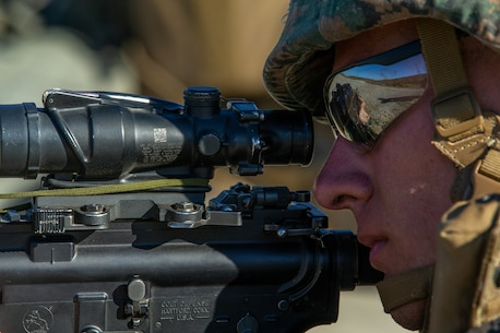 U.S. Marine Lance Cpl. Henry Young an anti-tank missleman with 1st Tanks Battalion, 1st Marine Division (MARDIV), competes during the Rifle Squad Competition on Marine Corps Base Camp Pendleton, Calif., June 27, 2018.