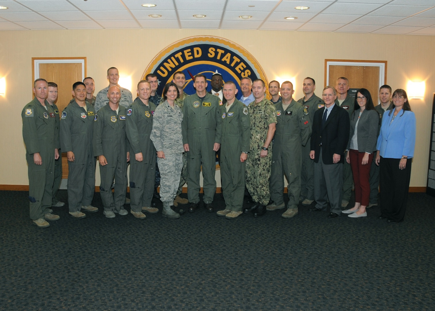 U.S. Navy Vice Adm. David Kriete (center), deputy commander of U.S. Strategic Command (USSTRATCOM), meets with participants of the Nuclear Commanders Course (NCC) at Offutt Air Force Base, Neb., July 12, 2018. NCC is a two-day course designed to provide new nuclear enterprise commanders with a foundational understanding of USSTRATCOM's role in building and maintaining the nuclear war plan, nuclear command and control capabilities, and their unit's role in the strategic deterrence mission. USSTRATCOM has global responsibilities assigned through the Unified Command Plan that include strategic deterrence, nuclear operations, space operations, joint electromagnetic spectrum operations, global strike, missile defense, and analysis and targeting.