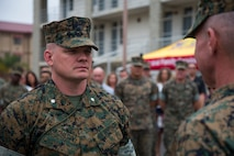U.S. Marine Corps Lt. Col. Michael R. Nakonieczny stands at attention during the 1st Light Armored Reconnaissance Battalion, 1st Marine Division, change of command ceremony at Marine Corps Base Camp Pendleton, Calif., June 21, 2018.