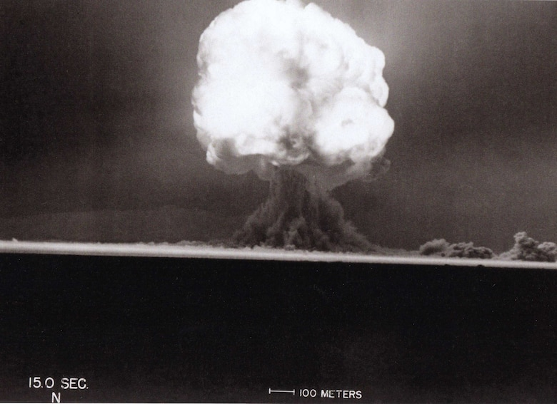 The birth of the Atomic Age took place precisely at 5:29 a.m., July 16, 1945, on a remote 18 mile by 24 mile portion of the Alamogordo Bombing and Gunnery Range northwest of then-Alamogordo Army Air Field, N.M.