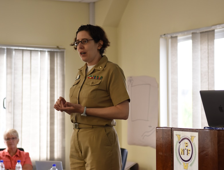 U.S. Navy Lt. Cmdr. Catherine Berjohn, an infectious disease physician with Naval Medical Center, San Diego, discusses the various steps of disaster management during a subject matter exchange on community disaster response as part of Pacific Angel (PAC ANGEL) 18-3 in Luganville, Vanuatu, July 11, 2018.