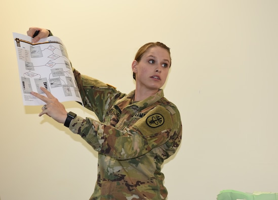 U.S. Army Spc. Marlee Nelson, U.S. Army Public Health Command Pacific preventive medicine specialist, Joint Base Lewis-McChord, Wash., discusses methods for identifying different species of mosquitoes during a vector-borne disease control subject matter exchange as part of Pacific Angel (PAC ANGEL) 18-3 in Luganville, Vanuatu, July, 10, 2018.