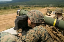 A U.S. Marine with Black Sea Rotational Force 18.1 locks onto a target using an FGM-148 Javelin anti-tank missile launcher during a deployment for training exercise at Novo Selo Training Area, Bulgaria, July 5, 2018