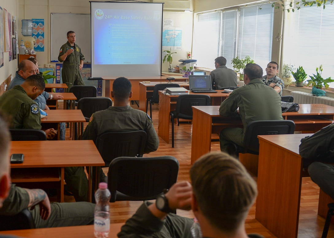 Participants of Thracian Summer 2018 attend a safety briefing before beginning operations in Plovdiv, Bulgaria, July 12, 2018. More than 10 units worked together to ensure the exercise kicked off successfully to build interoperability with the Bulgarian military. (U.S. Air Force photo by Staff Sgt. Jimmie D. Pike)