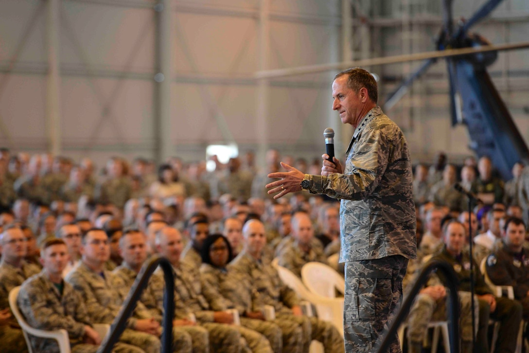 Chief of Staff of the Air Force Gen. David L. Goldfein speaks to Aviano Air Base Airmen at an all-call during his base tour, July 6, 2018 at Aviano AB, Italy. Goldfein visited several squadrons during his tour to talk about his views on the Air Force's future. (U.S. Air Force photo by Airman 1st Class Ryan Brooks)