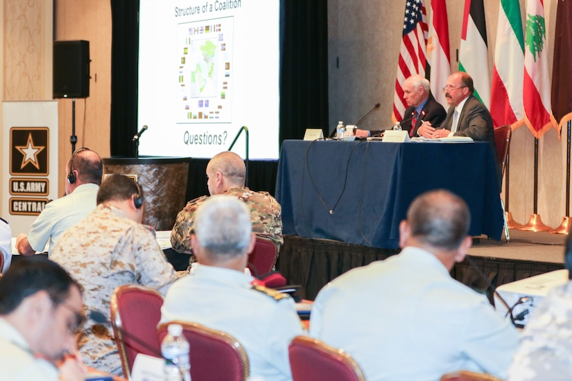 """Dr. John A. Bonin, professor, and Dr. Gregory L. Cantwell, director of the Center for Strategic Leadership, U.S. Army War College, take questions after their presentation on """"The Structure of a Coalition"""" at the 2018 Senior Strategy Session – Arabian Peninsula / Levant in Arlington, Va, July 10, 2018. The conference promoted the successes of ongoing coalition action against emerging threats and improved shared understanding of regional land force counterparts to invest in the right capabilities to achieve better interoperability and greater effectiveness in pursuing mutual national interests. Over the four-day conference, speakers and participants will engage in discussions centering on the complexities and lessons learned from Joint, Interagency, Intergovernmental and Multinational (JIIM) efforts during ongoing theater campaigns that have global implications."""
