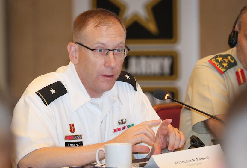 Brig. Gen. Stephen Radulski, 28th Infantry Division Assistant Commander (Maneuver), provides his feedback as the deputy commanding general for USARCENT's Task Force Spartan during a group discussion at the 2018 Senior Strategy Session – Arabian Peninsula / Levant in Arlington, Va, July 10, 2018. The conference promoted the successes of ongoing coalition action against emerging threats and improved shared understanding of regional land force counterparts to invest in the right capabilities to achieve better interoperability and greater effectiveness in pursuing mutual national interests. Over the four-day conference, speakers and participants will engage in discussions centering on the complexities and lessons learned from Joint, Interagency, Intergovernmental and Multinational (JIIM) efforts during ongoing theater campaigns that have global implications.