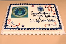 The cake created for Chief Master Sgt. Robert L. Walter, 94th Force Support Squadron superintendent, who retired after 36 years of service. (U.S. Air Force photo/Senior Airman Josh Kincaid)