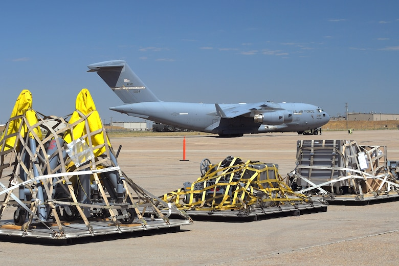 Cargo palletized by the 75th Logistics Readiness Squadron and 388th Maintenance Squadron sits on the ramp during an exercise July 13, 2018, at Hill Air Force Base Utah. (U.S. Air Force photo by Todd Cromar)