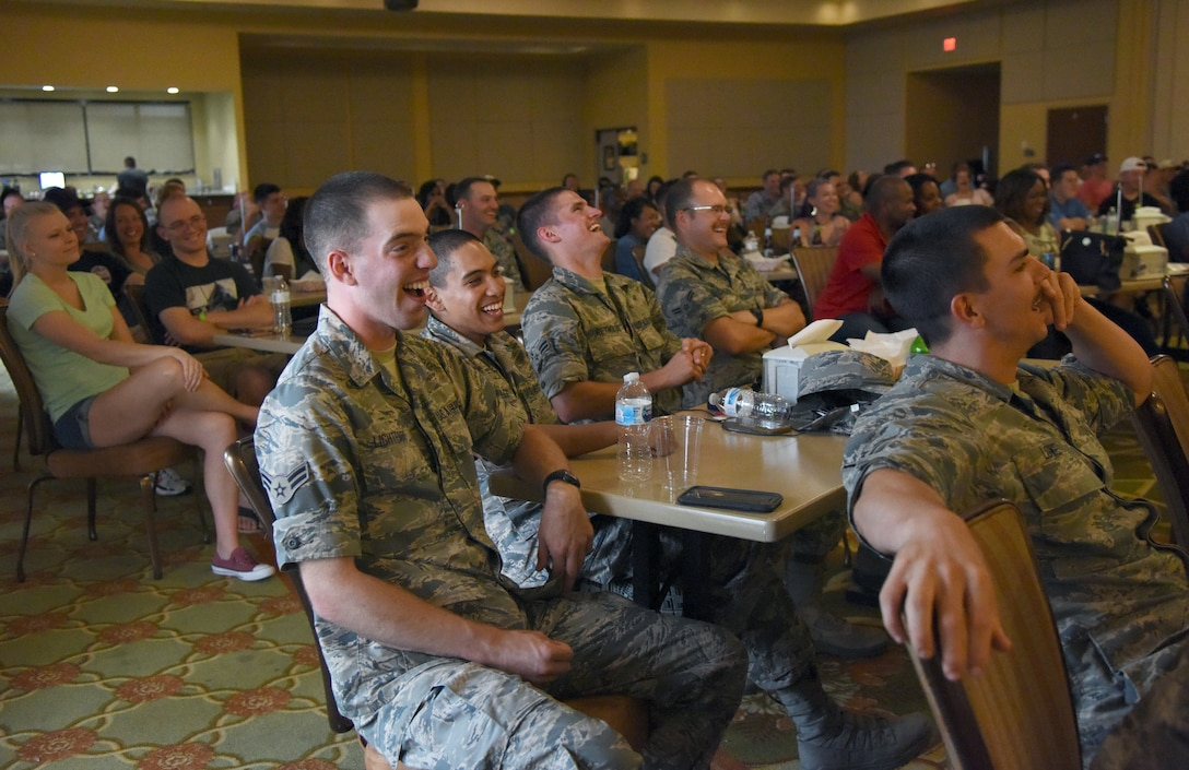 Airmen from the 81st Training Group attend the Tim Meadows comedy show at the Bay Breeze Event Center at Keesler Air Force Base, Mississippi, July 14, 2018. Meadows is an alumni of the late-night comedy show, Saturday Night Live. (U.S. Air Force photo by Kemberly Groue)