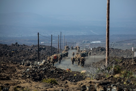 U.S. Marines hike on Island of Hawaii during RIMPAC