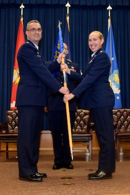 U.S. Air Force Reserves Command 433 LRS welcomes Maj. Sarah N. Scaglione in a change of command ceremony July 14, 2018 at JBSA-Lackland.