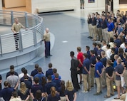 Col. Robert Goetz welcomes approximately 200 high school students from across the nation to Marine Corps Recruiting Command's 2018 Summer Leadership and Character Development Academy at the National Museum of the Marine Corps in Triangle, Virginia, July 16. Students accepted into the academy were hand-selected by a board of Marines who look to find attendees with similar character traits as Marines. Inspired by the Marine Corps' third promise of developing quality citizens, the program was designed to challenge and develop the nation's top-performing high school students so they could return to their communities more confident, selfless and better equipped to improve the lives of those around them. Goetz currently serves as the commanding officer for the academy. (U.S. Marine Corps photo by LCpl. Naomi Marcom)