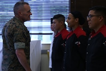 CAMP COURTNEY, OKINAWA, Japan – Maj. Gen. Vincent Coglianese speaks to Food Service Specialist Marines June 22 during the 2018 Major General W.P.T. Hill Memorial Award for Best Management and Mess Attendant Mess Hall award ceremony at Camp Courtney, Okinawa, Japan.