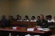KADENA AIR BASE, OKINAWA, Japan – U.S. Marine Corps Capt. Eric Dolce played the role of trial counsel during a mock trial June 29 on Kadena Air Base, Okinawa, Japan.
