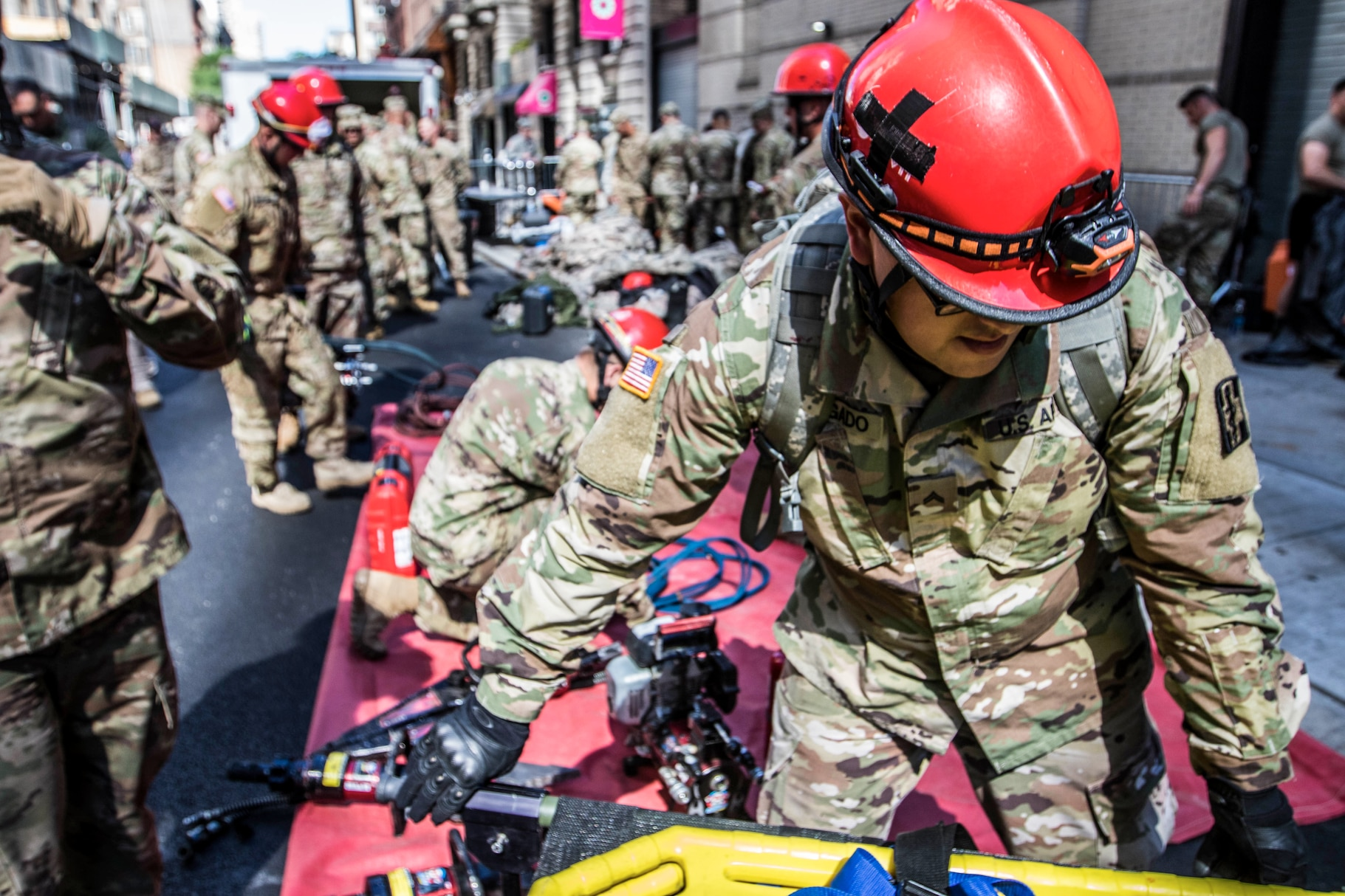 Army Reserve Spc. Jason Delgado, 328th Combat Support Hospital, practices lifesaving skills in Manhattan, New York, July, 10, 2018. These Soldiers are part of a national response element that works with civil authorities to provide manpower, vehicles, and equipment to perform medical services as well as chemical, biological, and radiological clean up — essential skills in the event of a disaster or attack. (U.S. Army Reserve photo by Staff Sgt. Felix R. Fimbres)