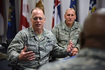 U.S. Air Force Maj. Gen. Mark Weatherington, Air Education and Training Command deputy commander, speaks during an 81st Training Group mission briefing at the Levitow Training Support Facility during a site visit on Keesler Air Force Base, Mississippi, July 11, 2018. Weatherington also received an 81st Training Wing mission briefing followed by a windshield tour of the base to become more familiar with Keesler's mission. (U.S. Air Force photo by Kemberly Groue)