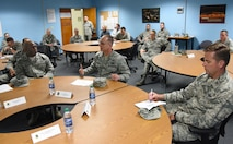 U.S. Air Force Maj. Gen. Mark Weatherington, Air Education and Training Command deputy commander, makes comments during a Continuum of Learning briefing during a site visit at Bryan Hall on Keesler Air Force Base, Mississippi, July 11, 2018. Weatherington had a one-day site visit at Keesler to become more familiar with the base's mission. He also received 81st Training Wing and 81st Training Group mission briefings followed by a windshield tour of the base. (U.S. Air Force photo by Kemberly Groue)