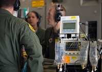 Tech. Sgt. Bryan Sundstrom (left),59th Medical Wing cardiopulmonary technician, Capt. Elena Vulgamott (middle), 59th MDW critical care registered nurse, and Maj. Mark Cheney (right), 59th MDW anesthesiologist, discuss a variety of treatment options on a simulated patient during a Critical Care Air Transport Team (CCATT) demo at Joint Base San Antonio-Lackland, Texas, July 12, 2018. CCATTs have been deployed in support of contingency operations resulting in the U.S. Air Force saving more lives now than ever in our nation's history. (U.S. Air Force photo by Senior Airman Stefan Alvarez)