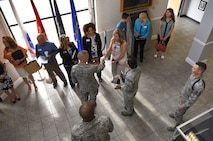 U.S. Air Force Lt. Gen. Steven Kwast, Air Education and Training Command commander, is greeted by Keesler leadership and their spouses at the Levitow Training Support Facility during an immersion tour at Keesler Air Force Base, Mississippi, July 16, 2018. Kwast also received an 81st Training Group briefing followed by a tour of the Keesler Medical Center to become more familiar with Keesler's mission. (U.S. Air Force photo by Kemberly Groue)