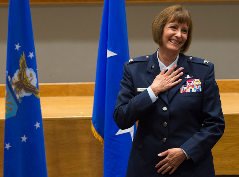 Col. Michelle Hayworth, Air Forces Cyber vice commander, thanks those in attendance during her promotion ceremony to brigadier general at Joint Base San Antonio-Lackland, Texas, July, 16, 2018. In June, Hayworth re-joined AFCYBER from Air Force Space Command. She previously served in AFCYBER, most recently as the 688th Cyberspace Wing Commander. (U.S. Air Force photo by Tech. Sgt. R.J. Biermann)
