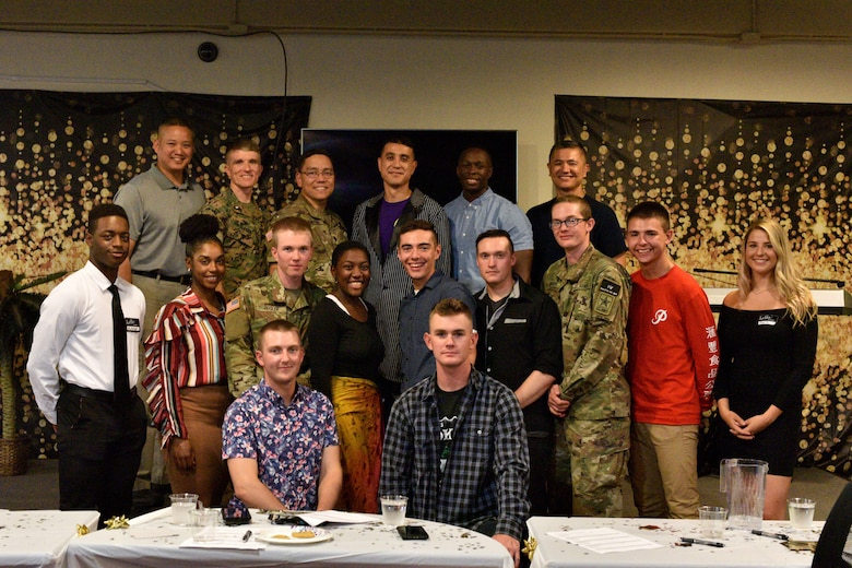 Judges and participants pose after the semi-annual Goodfellow's Got Talent show at the Crossroads Student Ministry Center on Goodfellow Air Force Base, Texas, July 13, 2018.  The Crossroads Student Ministry Center host Goodfellow's Got Talent show every year to allow students to express their unique skills. (U.S. Air Force photo by Senior Airman Randall Moose/Released)