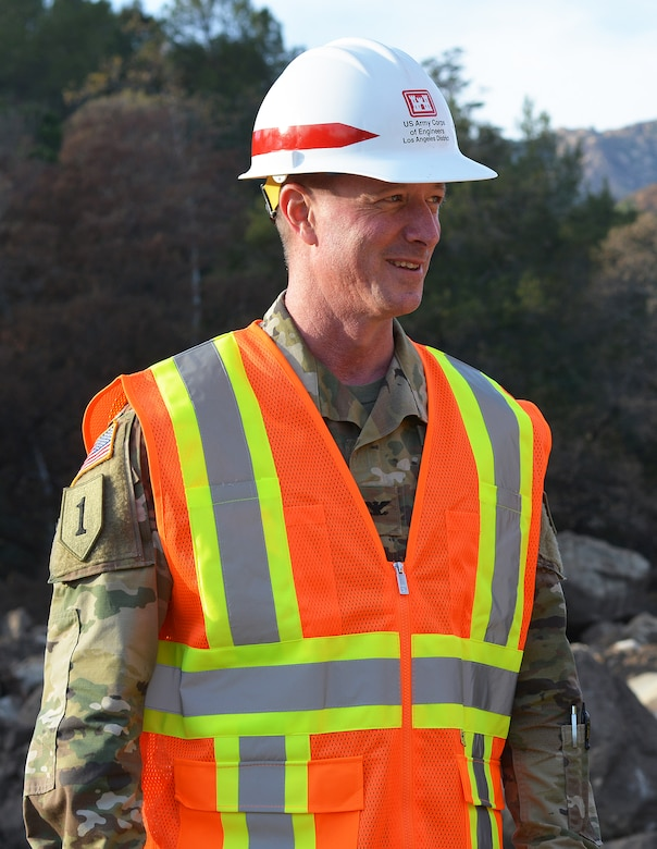 Col. Kirk Gibbs, U.S. Army Corps of Engineers commander, is pictured at the Cold Springs Basin during a Jan. 18 tour of Montecito, California, in Santa Barbara County. The LA District was instrumental is clearing out debris from 11 basins in Santa Barbara County, following a devastating debris/mudslide Jan. 9 in Montecito.