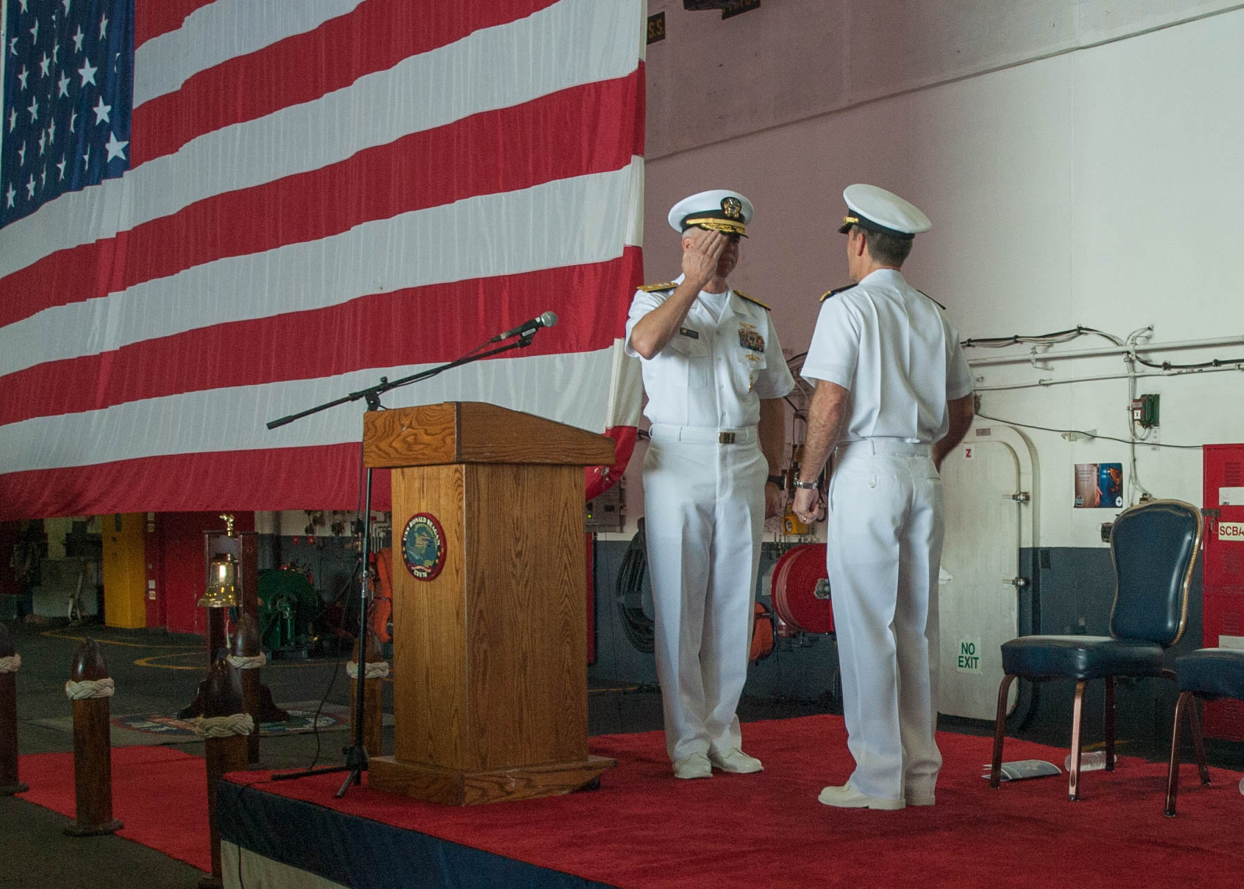 Commander, Task Force (CTF) 70 held a change of command ceremony aboard the Carrier Strike Group 5 (CSG 5) flagship, the forward-deployed aircraft carrier USS Ronald Reagan (CVN 76), while the ship was underway, July 18.
