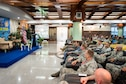 U.S. Air Force Lt. Col. Barry King II, exercise director, gives remarks during the Cope Taufan 18 (CT18) opening ceremony at Subang Air Base, Malaysia, July 13, 2018.