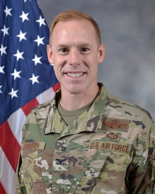 U.S. Air Force Col. Benjamin R. Jonsson was photographed at an Al Udeid Air Base on July 16, 2018. (U.S. Air Force photo by Staff Sgt. Enjoli Saunders/Released)