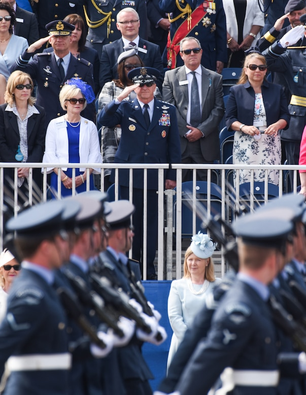 U.S. Air Force General David L. Goldfein (center), Chief of Staff of the USAF, salutes members of the Royal Air Force during the 2018 Royal International Air Tattoo at RAF Fairford, United Kingdom on July 13, 2018. This year's RIAT celebrated the 100th anniversary of the RAF and highlighted the United States' ever-strong alliance with the UK. (U.S. Air Force photo by TSgt Brian Kimball)