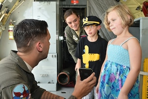 Tommy Judge and his family on a static tour of the KC- 135R Stratotanker on June 21, 2018 at Seymour Johnson Air Force Base, NC.