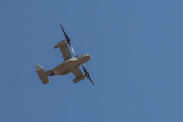 A U.S. Marine Corps MV-22B Osprey flies above the flight line in support of Combined Joint Task Force – Operation Inherent Resolve on Al Asad Air Base, Iraq, June 8, 2018. CTJF-OIR is the military arm of the Global Coalition to defeat ISIS in designated parts of Iraq and Syria.