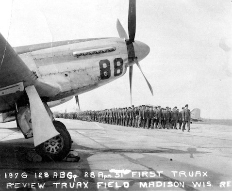 First Truax Field pass in review occurred April 28, 1951, with an F-51D Mustang in the foreground.  The F-51 Mustang was flown by the 115th Fighter Wing, then called the 176th Fighter Squadron from 1948-1952.