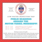 The Mississippi River Commission will conduct its annual low-water inspection trip on the Mississippi River Aug. 20-24.