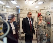U.S. Air Force Tech. Sgt. Samantha Soran, right, 60th Medical Group, gives a briefing to Dr. Richard Joseph, Chief Scientist of the United States Air Force, Washington, D.C., during his visit to Travis Air Force Base, Calif., July 12, 2018. Joseph toured David Grant USAF Medical Center, Phoenix Spark lab and visited with Airmen. Joseph serves as the chief scientific adviser to the Chief of Staff and Secretary of the AF, and provides assessments on a wide range of scientific and technical issues affecting the AF mission. (U.S. Air Force photo by Louis Briscese)