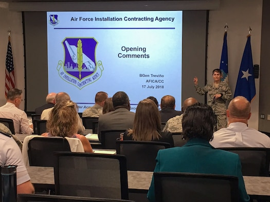 Brig. Gen. Alice W. Treviño, Air Force Installation Contracting Agency commander, delivers opening remarks at AFICA's third annual Enterprise Sourcing Summit held at the Air Force Institute of Technology at Wright-Patterson Air Force Base July 17-18, 2018.