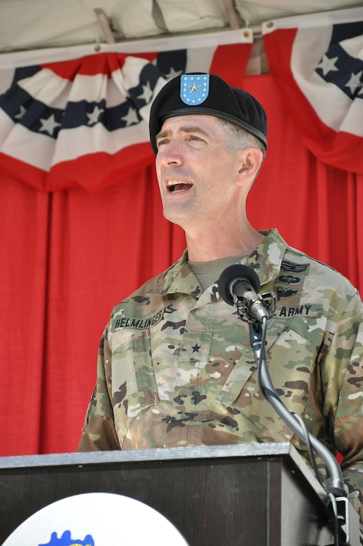 Brig. Gen. Pete Helmlinger, U.S. Army Corps of Engineers South Pacific Division commander, speaks to the audience during a July 19 change of command ceremony at Fort MacArthur in San Pedro, California.