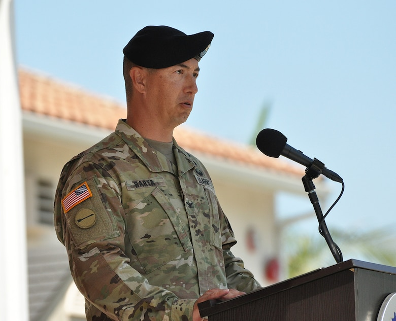 Col. Aaron Barta, incoming U.S. Army Corps of Engineers Los Angeles District commander, speaks during a July 19 change of command ceremony at Fort MacArthur in San Pedro, California.