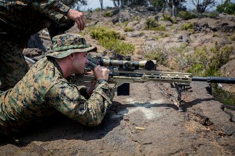 U.S. Marine snipers hit the range during RIMPAC